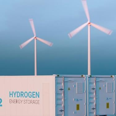 windmills over hydrogen containers